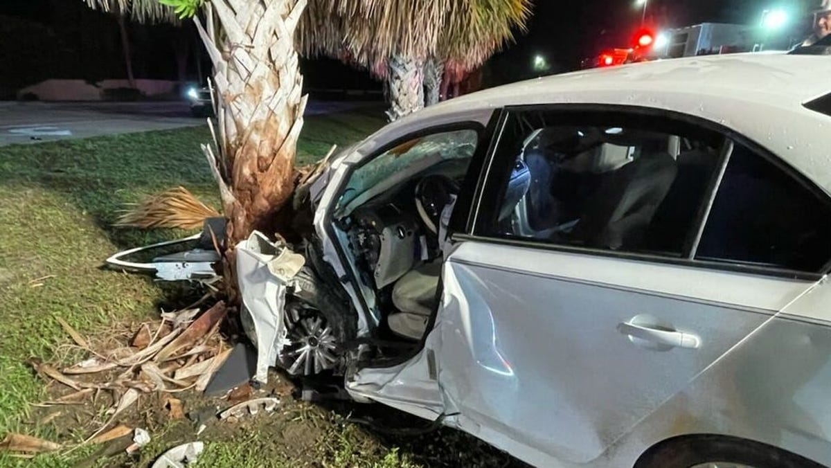 Single vehicle crash in front of Three Oaks Middle School Monday sends one to the hospital 2