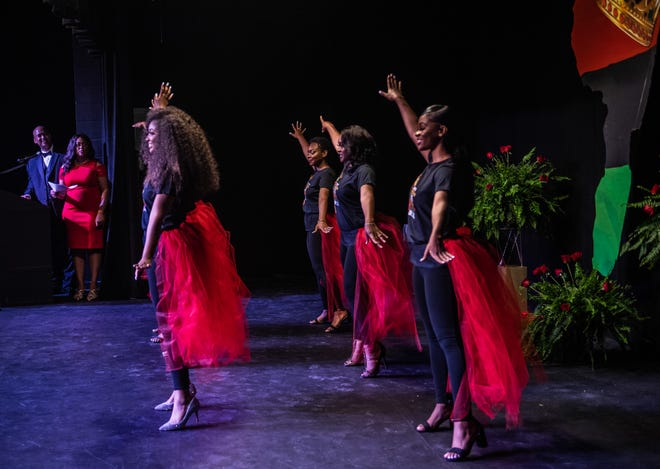 Miss Jackson Juneteenth scholarship pageant contestants perform their opening number during the first ever Miss Jackson Juneteenth scholarship pageant on Saturday, June 5, 2021 in Jackson, Tenn.