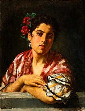 """Mary Cassatt """"Chica española recostada sobre el alféizar de la ventana"""" (alrededor de 1872) es parte de """"Americanos en España: pintura y viajes, 1820-1920."""" En exhibición en el Museo de Arte de Milwaukee."""