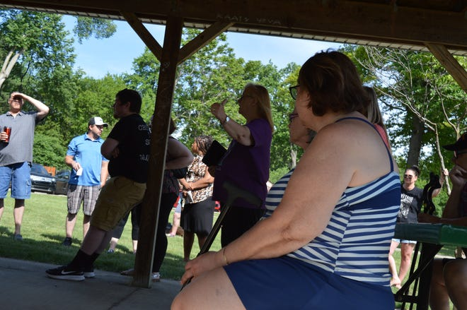 Vicki Dobbs told Westland police that loud music is a problem at Westland's Rotary Park during a community policing event on June 5, 2021.