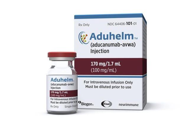 El medicamento aprobado por Estados Unidos para el mal de Alzheimer, Aduhelm. Foto suministrada por la empresa Biogen el 7 de junio del 2021.
