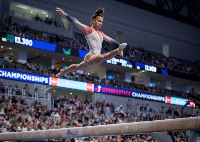 York County gymnast Addison Fatta competes during the U.S. Gymnastics Championships. Fatta earned a spot at Olympic Team Trials later this month with a No. 16 finish at the event.
