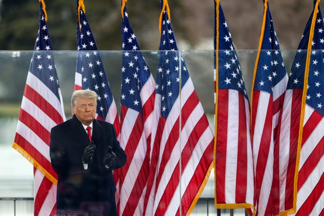 """President Donald Trump greets the crowd at a """"Stop The Steal"""" Rally on Jan. 6, 2021, in Washington, D.C. (Tasos Katopodis/Getty Images/TNS)"""