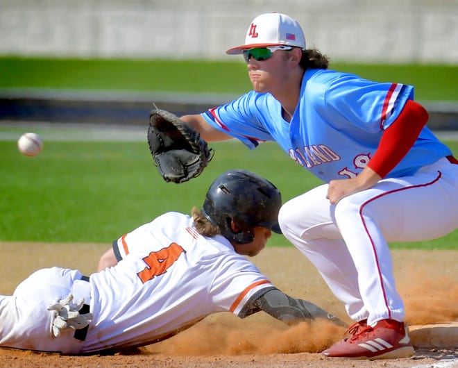 Red Land's Cole Wagner is seen here taking a throw at first base in a PIAA Class 5-A first-round baseball game vs. Marple Newtown. Wagner and the Patriots will face Manheim Central on Monday evening at PeoplesBank Park in York in a state 5-A semifinal.