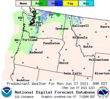 Spotty rain showers are predicted for Oregon and the Northwest