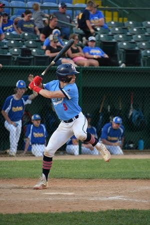 Landon Ruesink bats in the Class B championship game against West Central on Tuesday, June 1 at Sioux Falls Stadium.