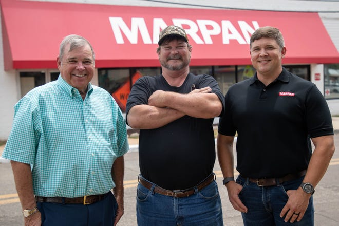 From left: Kim Williams, Tony Hartley and Andrew Williams stand together in front of MARPAN on East Pershing Street Monday, June 7, 2021.