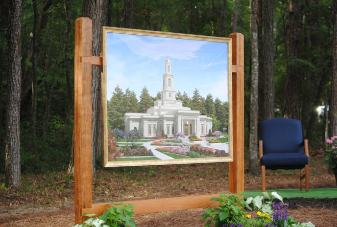 Rendering of the Tallahassee Florida Temple shown at the groundbreaking Saturday, June 5, 2021, at the site of Thomasville Road.