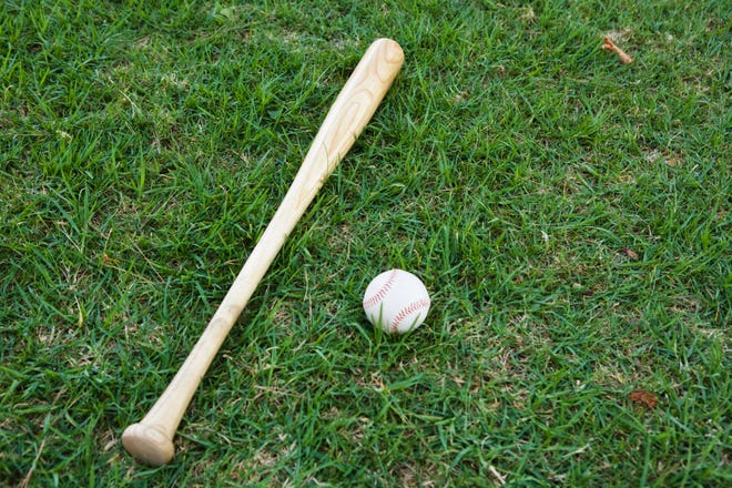 Baseball bat and ball on grass