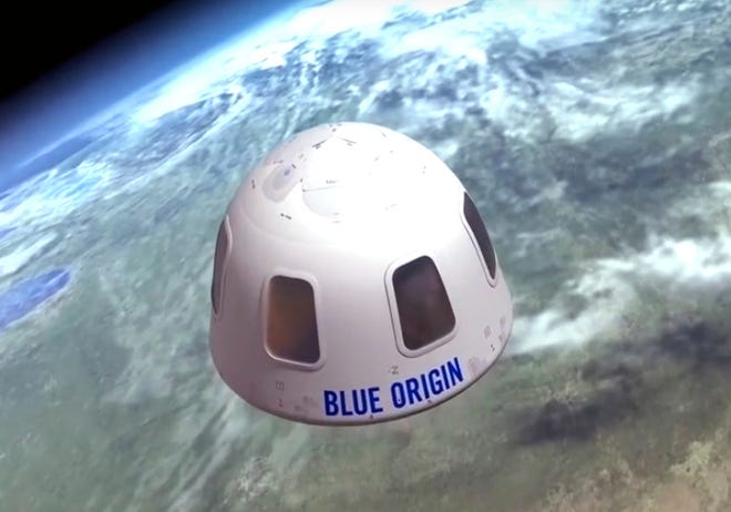 This undated illustration provided by Blue Origin shows the capsule that the company aims to take tourists into space.