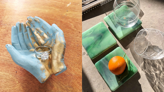 These handmade trinkets are perfect additions to the coffee table, bathroom counter or nightstand.