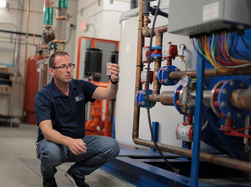 Brian Pickett, IWC Innovations' vice president for environmental solutions, conducts a risk assessment of incoming city water at the Ahern Hotel in Las Vegas.