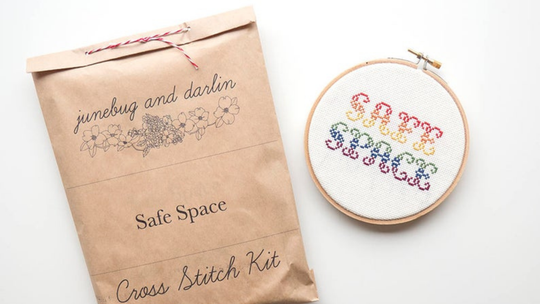 Feeling creative? DIY your own décor with a cross stitch kit from Junebug and Darlin.