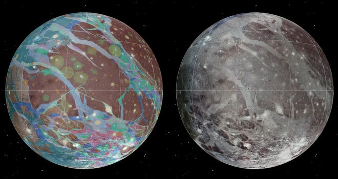 The mosaic and geologic images of Jupiter's moon Ganymede were assembled incorporating the best available imagery from NASA's Voyager 1 and 2 spacecraft and NASA's Galileo spacecraft.