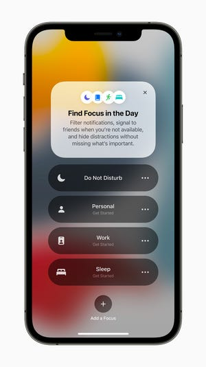 A new feature coming to iOS 15 is Focus, which filters notifications and apps based on what a user wants to focus on to help you reduce distractions.