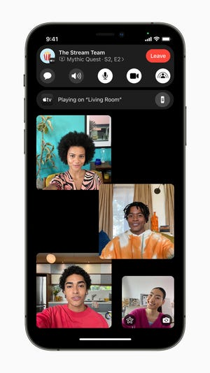 Users can now share experiences with SharePlay while connecting with friends on FaceTime, including listening to songs together with Apple Music, watching a TV show or movie in sync, or sharing their screen to view apps together.