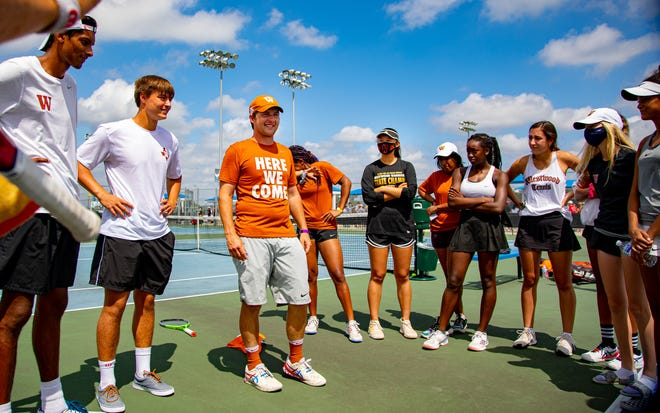 Westwood's golf coach Travis Dalrymple talks to his team after the spring state tournament in May in San Antonio. The Warriors, who won the 2020 Class 6A team tennis championship, captured two doubles titles in the spring.