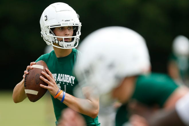 Athens Academy quarterback Whit Muschamp looks to throw a pass during a 7-on-7 football competition hosted by Athens Academy in Athens, Ga., on Tuesday, June 8, 2021. Multiple area schools came out to compete in the competition.