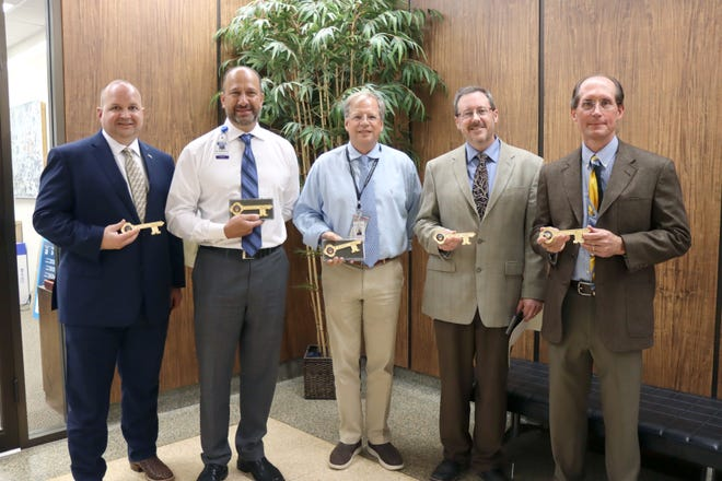 Rodney Gonzalez with the Amarillo VA Hospital System, Todd Bell with the Texas Tech University Health Sciences Center, Scott Milton with the Texas Tech University Health Sciences Center, Brian Weis with the Northwest Texas Healthcare System and Michael Lamanteer with the BSA Healthcare System were all presented keys to the city by the Amarillo City Council Tuesday afternoon.