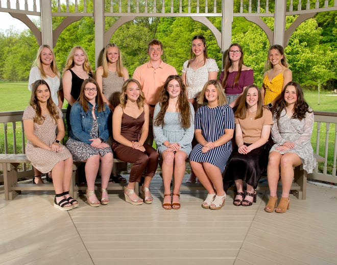 Marlington High School recently honored the Top 10% of its Class of 2021. Included were, front row from left, Hayden Graffice, Emilee Ritchie, Landrey Kirk, Morgan Campbell, Elizabeth Charlton, Evelyn Bullock and Emma Goettel; and ,back row from left, Angela Cirone, Ella Dipold, Mary Mason, Evan Bland, Allison Lacher, Ashley Tarter and Olivia Ryan. Missing was Mykenna Creager.