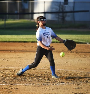 Callie Kohlwes fires a pitch during Colo-NESCO's 12-0 loss to No. 4 Collins-Maxwell in five innings June 3 at McCallsburg.