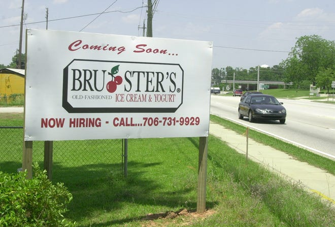 In this photo from June 2001, a sign on North Belair Road in Evans marked the forthcoming location of a Bruster's ice cream parlor. The owner announced Tuesday morning that the Evans location will close June 11 but the Augusta location will stay open.