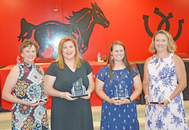 Barnwell Elementary School teacher Jenny Raines (third from left) was named the Barnwell District 45 Teacher of the Year. She's pictured with the Teachers of the Year from the other three schools, including Betsy Antley from Barnwell High, Heather Peters from Guinyard-Butler Middle, and Aerial Baxley from Barnwell Primary.