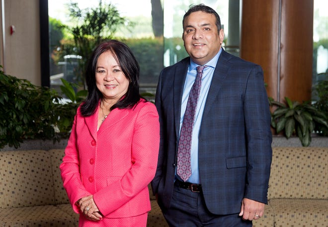 Joy Kouns and Shyam Rajadhyaksh of the Asian-American Commerce Group photographed on Wednesday, June 2, 2021.