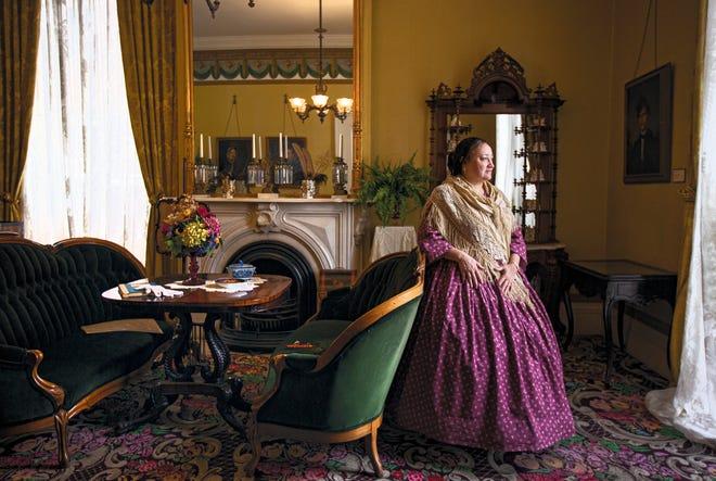 Education coordinator Mary Oellermann plays the part of Sophia Kelton at the Kelton House.