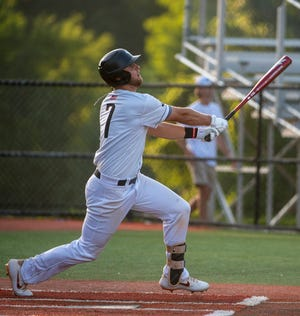 Randolph County's Braxton Davis blasts a home run against High Point during an NC3 league game at McCary Park on July 1, 2020. Davis is one of the players being counted on to lead Post 45 in the 2021 season. [PJ WARD-BROWN/FOR THE COURIER-TRIBUNE]