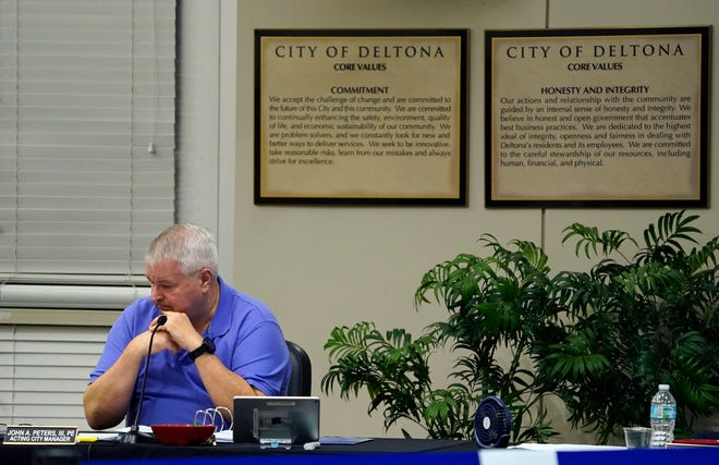 John Peters III, Deltona's acting city manager, at the City Commission meeting on Monday, June 7, 2021. Peters accepted the commission's decision to table his resignation until January 2022.