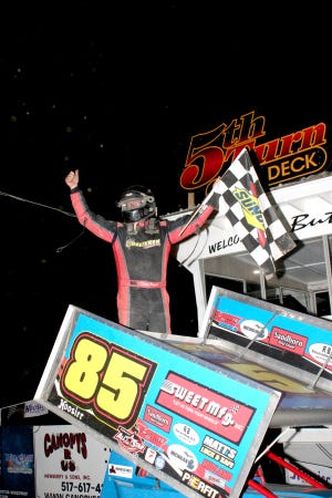 Dustin Daggett celebrates in victory lane Saturday night at Butler Motor Speedway after winning the Great Lakes Super Sprints A-Main. Daggett led flag to flag to pick up his first win at the track.