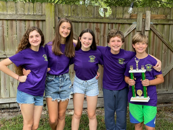 Members of the Odyssey of the Mind St. Paul team include Alexandria Mitsis (from left), Isabella Hovan, Evie M'Ree Moore, Ryan Ley and Henry Baranek.