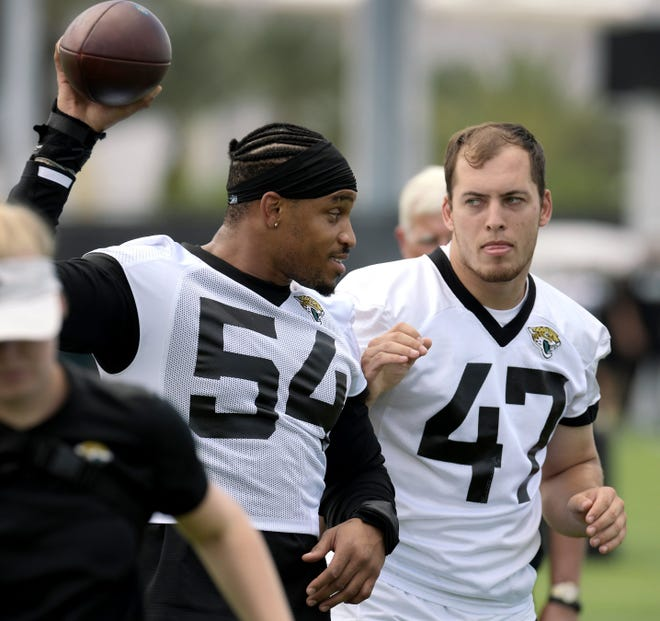 Jaguars starting linebackers Joe Schobert (47) and Myles Jack will be joined this season by free-agent signee Damian Wilson (54) in a new scheme that Schobert likens to learning a new language.