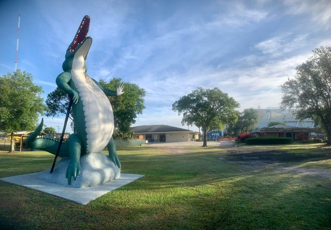 The area around Met Park may be undergoing some reconstruction, but the 22-foot concrete gator -- relocated from Gatorland in St. Augustine after it closed in the 1980s -- is still standing there.