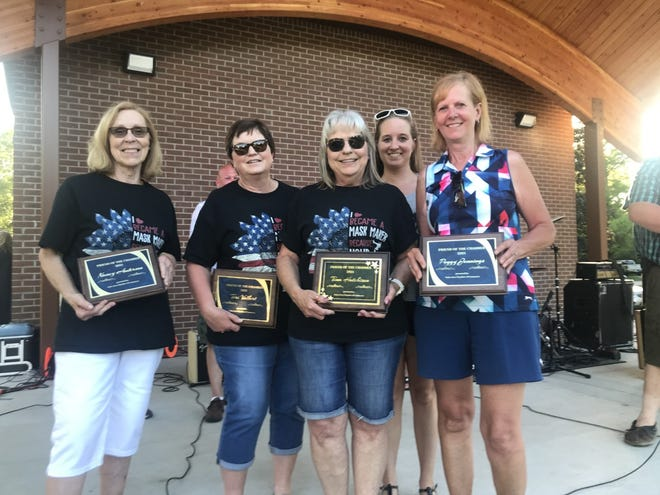 """Nancy Anderson, Terri Volkert, Tina Hutchinson and Peggy Jennings who received the """"Friends of the Galva Chamber of Commerce"""" award  Sunday night. Diane Gibson was absent."""