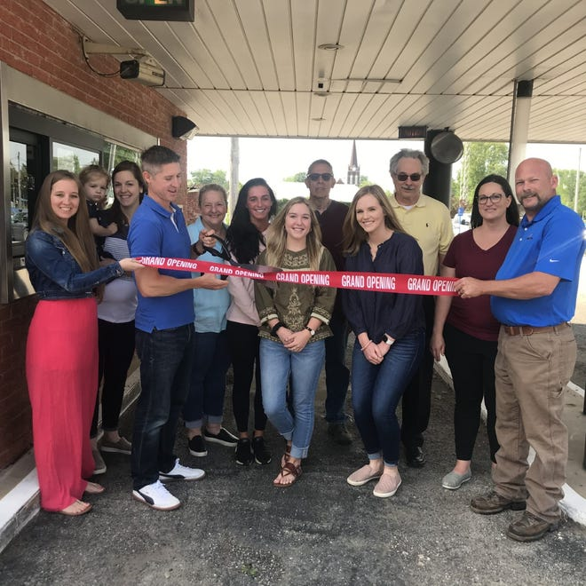 Galva Chamber of Commerce celebrates the addition of Old Bank Coffee & Tea with a ribbon cutting