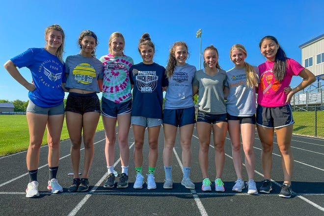 Members of the Knoxville Blue Bullets girls track team headed to the State Track & Field Finals this weekend are, from left; Hillary Crouse, Makaiha Moore, Kailee Shreeves, Kynlee Stearns, Mackenzie Rader, Jade Rickard, Lauren Becker and Chloe Meyers.