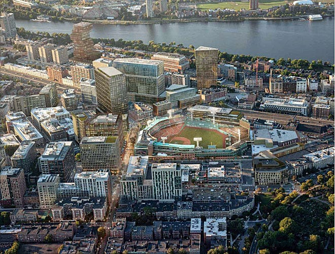 The Red Sox propose to add or remake structures on more than 5.3 acres of land on some of the neighborhood's most recognizable blocks: Brookline Avenue, Jersey Street, Landsdowne Street and Van Ness Street.