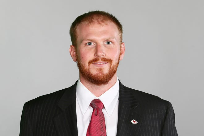 FILE - In this June 20, 2016, file image, Kansas City Chiefs assistant coach Britt Reid poses for a photo. Former Kansas City Chiefs assistant coach Reid has pleaded not guilty in a crash that left a young girl critically injured.
