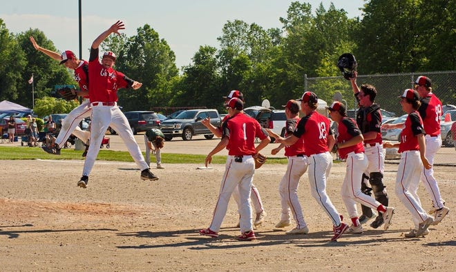 Cole Grunwald (left) and Ethan Webb get some air as they high-five after New Boston Huron's win in the finals of the Division 2 Baseball Distrrict at Summit Academy Saturday.