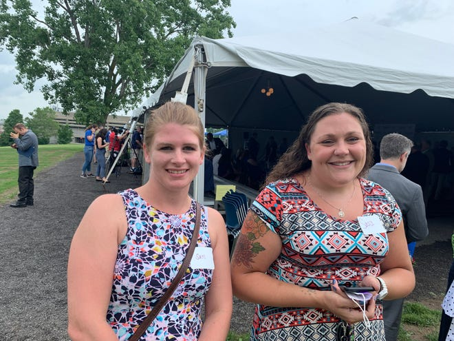 Finger Lakes Community College nursing students attending the groundbreaking for the Sands Center for Allied Health included (from left) Sam Peters and Sara Weigert.