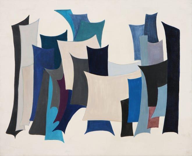التقويم الكبير (بيروت ، لبنان ، 1931-2019) المدينة الثانية ، 1968 ألوان زيتية على قماش ، 31.5 × 39.4 بوصة.  معرض مؤسسة بارجيل للفنون ، الشارقة ، الإمارات العربية المتحدة
