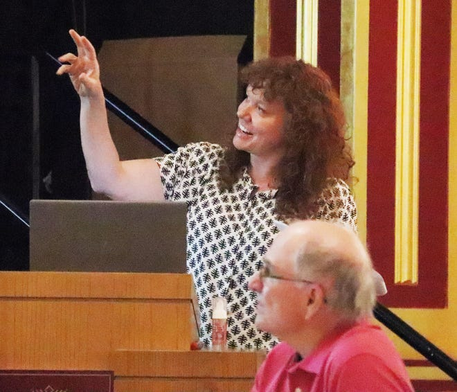 Liz Vincent gives the city council an update on the Illinois Main Street Program's report on Pontiac at Monday's meeting at the Eagle Theater.
