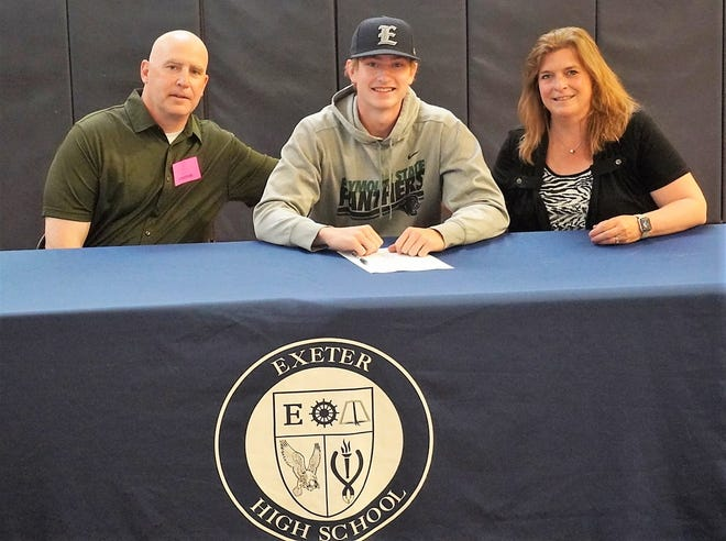 Exeter High School senior Sam Malgeri will play baseball at Plymouth State University, a Division III program in the Little East Conference, next year. Malgeri is seated with his parents Lynn and George. The Stratham resident plans to study business.