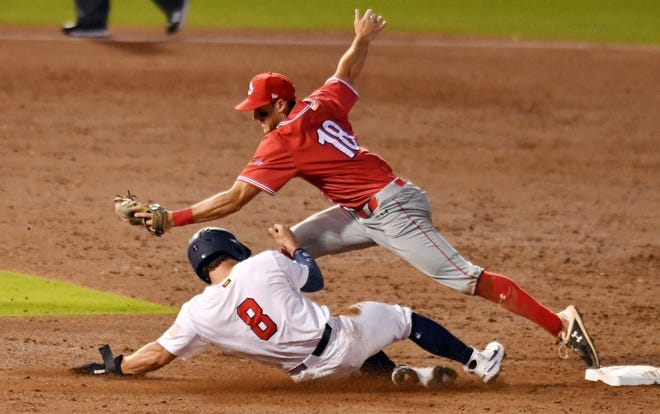 Canada infielder Wesley Darvill gets the force out in the fourth inning against USA catcher against Mark Kolozvary during the Super Round of the WBSC Baseball Americas Qualifier series at The Ballpark of the Palm Beaches, June 6, 2021 in West Palm Beach. [JIM RASSOL/palmbeachpost.com]