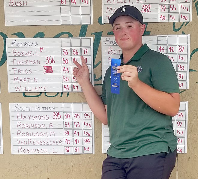Titus Boswell of Monrovia won low-medalist honors at the IHSAA Boys Golf sectional at Martinsville on Monday, June 7, 2021. (Courtesy photo/Monrovia High School)