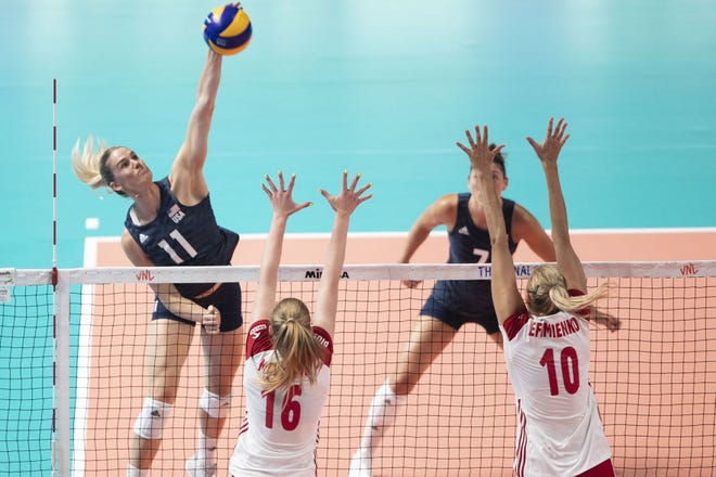 Annie Drews, left, a former star at Purdue and Penn High School has been named to the USA Olympic volleyball team.