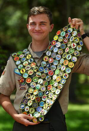 Owen Eakle, 16, of Sarasota, Florida, has earned all 137 merit badges offered by the Boy Scouts of America.