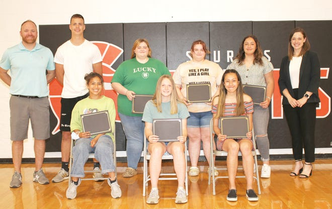 Seven of the 13 winners of the Sturgis Area Community Foundation summer scholarship awards are Vianey Cardiel, Connor Strudwick, Kaylee Draper, Naidelin Luna Bucio, Citori Kosmerick, Willow Webster and Harleah Webster. Also present was Sturgis Athletic Director Andy Hatt and Lindsey Richardson of the Community Foundation.